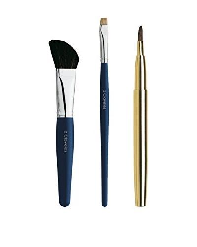 3 Claveles Set De Maquillaje: Pincel Oblícuo, Pincel Carrado Sombras Y Pincel Labios Retráctil
