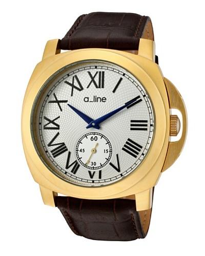 A Line AL80007YG02BR – Reloj de Caballero movimiento de cuarzo con correa de piel Marrón