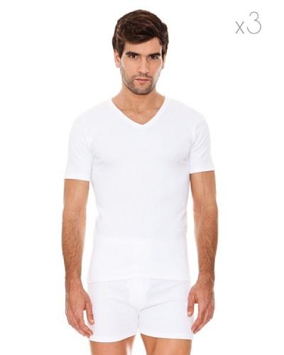 Abanderado Camiseta Manga Corta Cuello Pico Pack3 Blanco