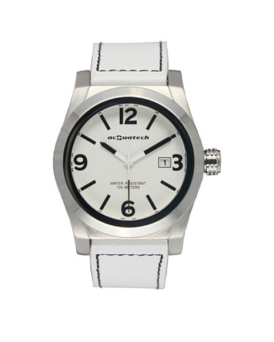Acquatech ACQ004SSBNBN – Reloj  Señora   cuarzo  correa  piel Plata / Blanco