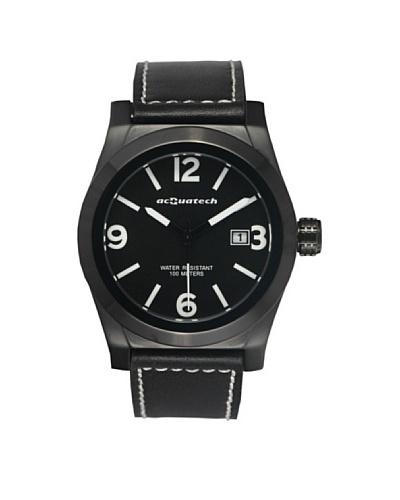 Acquatech ACQ004BKNRNR – Reloj  Señora   cuarzo  correa  piel Negro / Negro