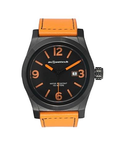 Acquatech ACQ002BKNRAR – Reloj  Caballero   cuarzo  correa  piel Negro / Naranja