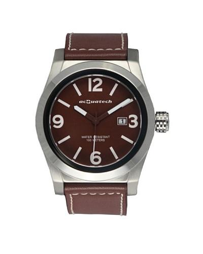 Acquatech ACQ002SSMRMR – Reloj  Caballero   cuarzo  correa  piel Plata / Marrón