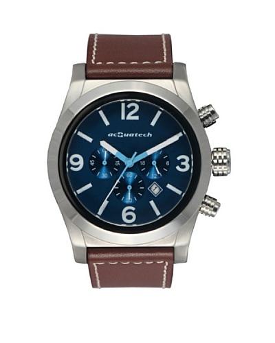 Acquatech ACQ001SSBLMR – Reloj  Caballero   cuarzo  correa  piel Plata / Azul / Marrón