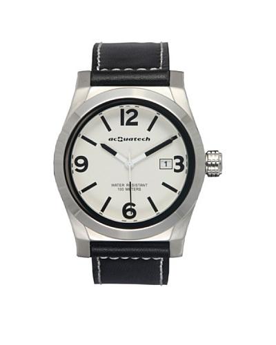 Acquatech ACQ004SSBNNR – Reloj  Señora   cuarzo  correa  piel Plata / Blanco / Negro