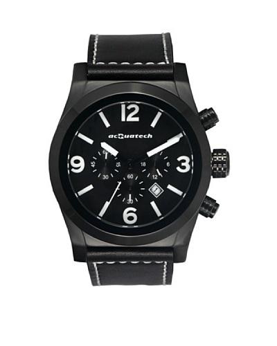 Acquatech ACQ001BKNRNR – Reloj  Caballero   cuarzo  correa  piel Negro / Negro