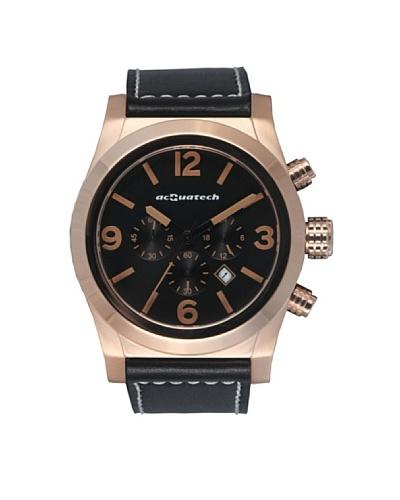 Acquatech ACQ001RGNRNR – Reloj  Caballero   cuarzo  correa  piel Oro Rosa / Negro