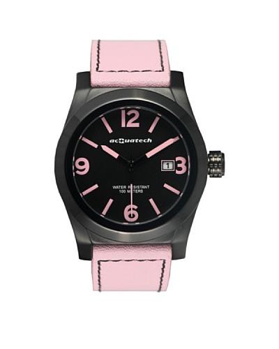 Acquatech ACQ004BKNRRO – Reloj  Señora   cuarzo  correa  piel Negro / Rosa