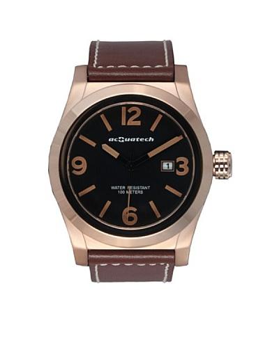 Acquatech ACQ002RGNRMR – Reloj  Caballero   cuarzo  correa  piel Oro Rosa / Negro / Marrón