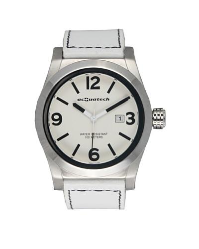 Acquatech ACQ002SSBNBN – Reloj  Caballero   cuarzo  correa  piel Plata / Blanco