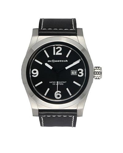 Acquatech ACQ002SSNRNR – Reloj  Caballero   cuarzo  correa  piel Plata / Negro