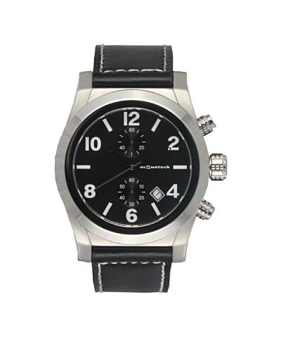 Acquatech ACQ003SSNRNR – Reloj  Señora   cuarzo  correa  piel Plata / Negro