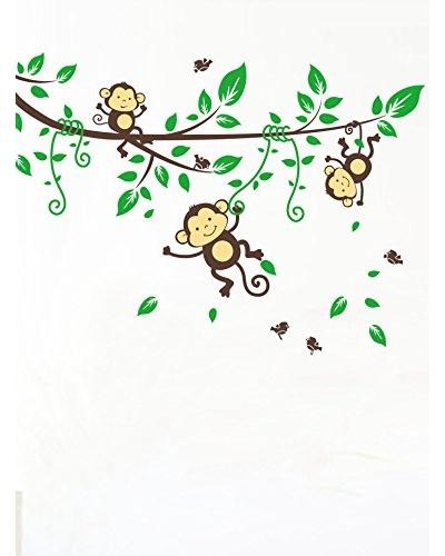 Ambiance Live Vinilo Adhesivo Monos En La Rama De La Floración Multicolor