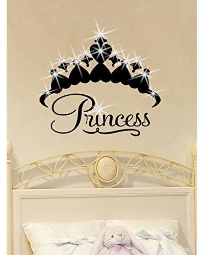 Ambiance Live Vinilo Adhesivo Corona De Princesa Con 15 Vinilo Adhesivo Swarovski® Elements Negro