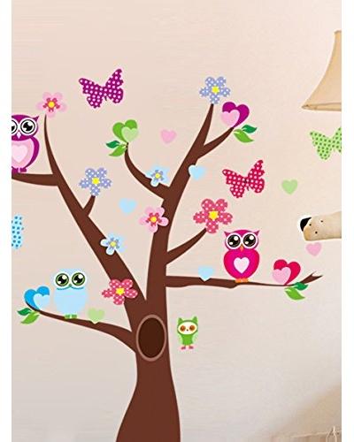 Ambiance Live Vinilo Adhesivo Búhos Y Mariposas Sobre Un Árbol Multicolor