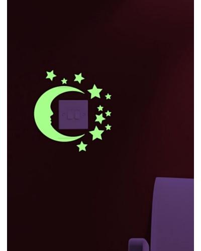Ambiance Live Vinilo Adhesivo Luna y Estrellas (Luminiscente) Verde