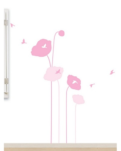 Ambiance Live Pink Poppy Flowers And Birds Wall Decals
