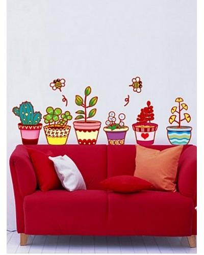 Ambiance Live Vinilo Adhesivo Macetas De Flores Y Cactus Multicolor