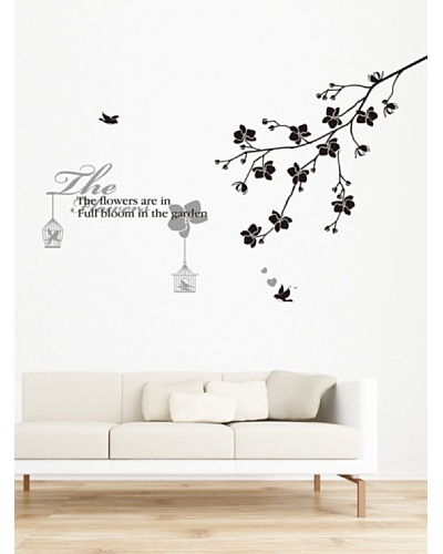 Ambiance Live Adhesivo Texto Flowers Con Ramas Y Pájaros