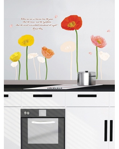 Ambiance Live Multicolored Poppies Flowers Wall Decals