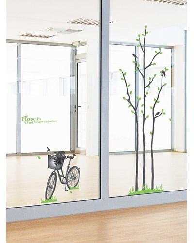 Ambiance Live Adhesivo Árbol Verde Y Bicicleta