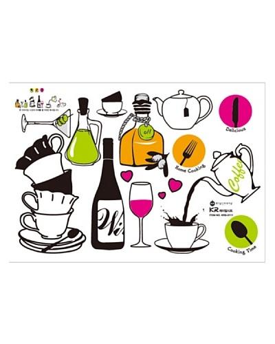 Ambience Live Vinilo Adhesivo Vino Y Té Multicolor
