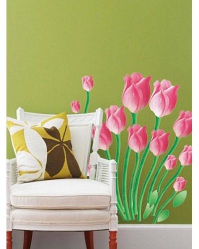 Ambiance Live Vinilo Adhesivo Tulipanes De Color Rosa