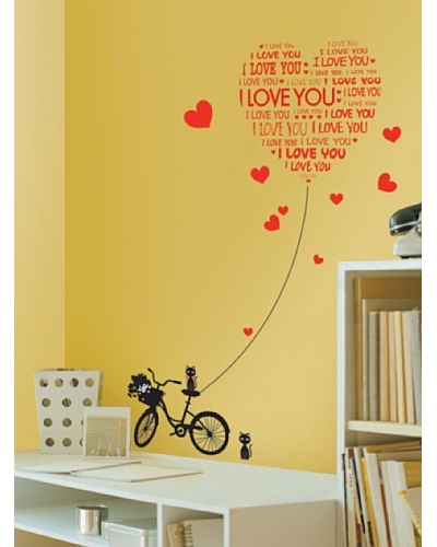 Ambiance Live Love You With Cats And Bike Wall Decal