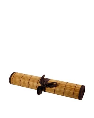 Ambiance Nature Camino De Mesa Bambú Con Ribete Color Chocolate