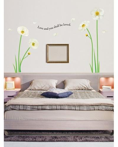 Ambience Live Vinilo Adhesivos Flores De Amapola Blancas Multicolores
