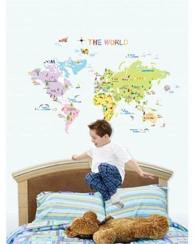 Ambience Live Vinilo Mapa Del Mundo Para Los Niños Multicolores