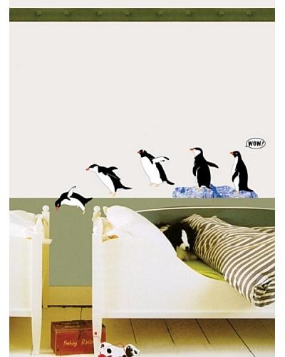 Vinilo Adhesivo de una familia de pingüinos Negro