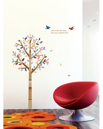 Ambience Live Vinilo Adhesivo Árbol Y Pájaros Multicolor