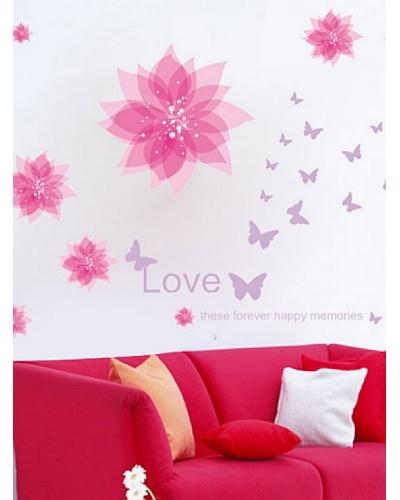 Ambience Live Vinilo Adhesivo Flores Y Mariposas De Color Violeta Multicolor