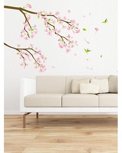 Ambience Live Vinilo Adhesivo Rama Con Flores De Color Rosa Y Los Colibríes Multicolor