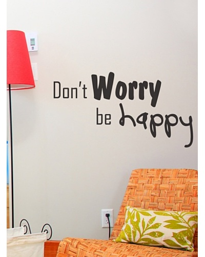 Ambience Live Vinilo Adhesivo Don't Worry Be Happy Negro