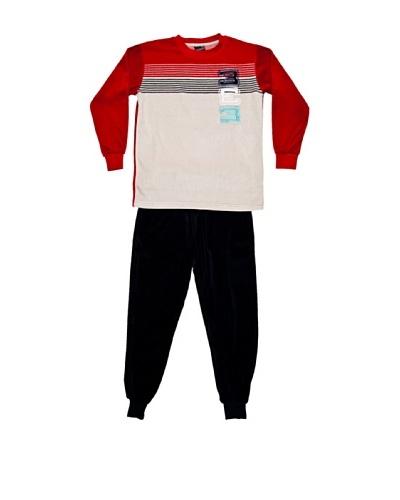 Basket Pijama Niño Velour Cuello Redondo Bordado