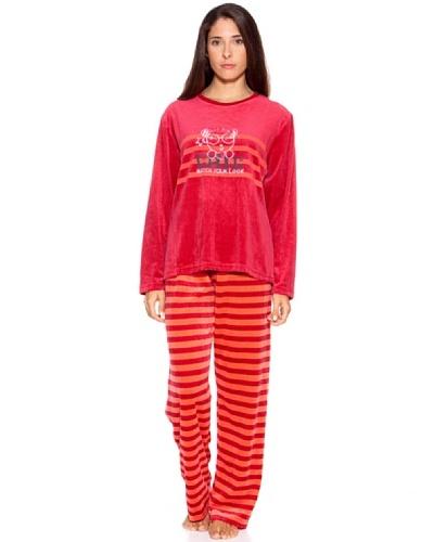 Bluedreams Pijama Señora Tundosado Rojo