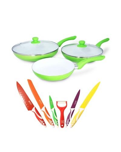 Alpine Set 7 Cuchillos + Set 3 Ceramic Pan Con Tapa Verde