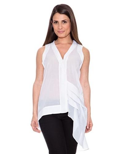 Caramelo Blusa Transparente Asimétrica Blanco