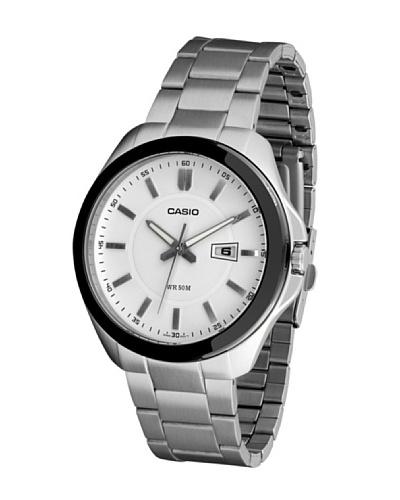 Casio MTP1318BD7A - Reloj de Caballero movimiento de cuarzo con brazalete metálico Blanco