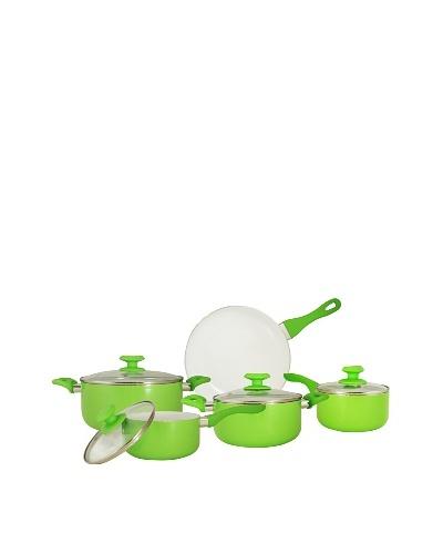Batería de cocina cerámica verde de 9 piezas