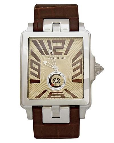 Cerruti CRB002A243D - Reloj analógico de caballero de cuarzo con correa de piel Marrón