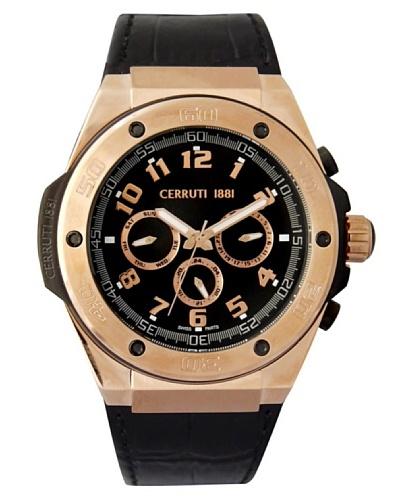 Cerruti CRA040C222H - Reloj analógico de caballero de cuarzo con correa de piel Negro