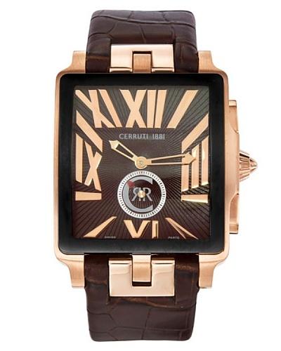 Cerruti Swiss Made Mode - Reloj analógico de caballero de cuarzo con correa de piel Marrón