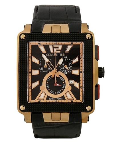 Cerruti CRB031D222G – Reloj de Caballero movimiento de cuarzo con correa de piel Negro