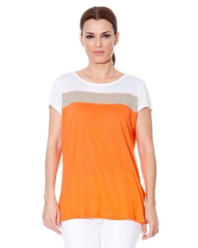 Cortefiel Camiseta Rayas Naranja / Gris / Blanco