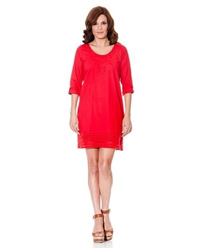 Cortefiel Vestido Encaje Rojo