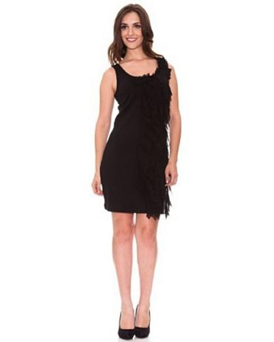 Cortefiel Vestido Volantes Negro