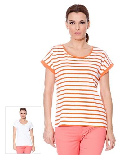 Cortefiel Camiseta Pack X2 Rayas Naranja / Blanco